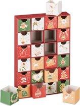 relaxdays adventskalender om zelf te vullen - 24 boxen - kerst kalender - advent - leeg A