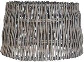 Clayre & Eef 6LAK0321 - Lampenkap - Doorsnede/hoogte: 40 x 24 cm / E27 - rattan - grijs