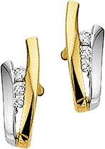 The Jewelry Collection Stekercreolen Zirkonia - Bicolor Goud