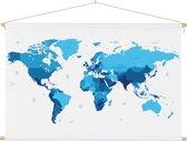 Wereldkaart Blauw schoolplaat muur decoratie 90x60 cm platte latten