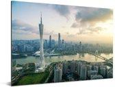 Zonnestralen boven de stad Guangzhou Aluminium 160x120 cm - Foto print op Aluminium (metaal wanddecoratie) XXL / Groot formaat!