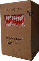 Natural Straws papieren rietjes - Rood gestreept - 250 stuks - 100% Composteerbaar