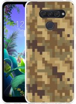 LG Q60 Hoesje Pixel Camouflage Brown