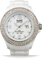 Tutti Milano TM004WH-ST-Z- Horloge -  48 mm - Wit - Collectie Cristallo