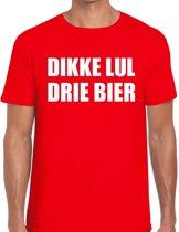 Dikke Lul Drie Bier heren shirt rood - Heren feest t-shirts 2XL