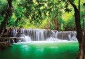 Fotobehang Waterfall Lake Forest Nature   XL - 208cm x 146cm   130g/m2 Vlies