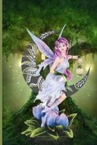 Fairy Sitting On Crescent Moon Holding A Lantern