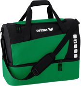 Erima Club 5 Line Sporttas met Bodemvak Large - Smaragd/Zwart