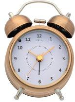 NeXtime Wake Up - Wekker - Rond - Metaal / Glas - 12,2x8,7 cm - Wit / Koperkleurig