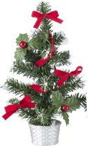 Mini kerstboompje zilver met rode versiering 20 cm - mini kunst kerstboom