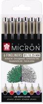 Sakura Pigma Micron 6 kleuren fineliners - 01 - 0,25mm