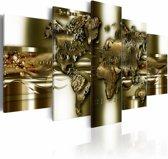 Canvas Schilderij - Gouden wereld, wereldkaart , goud look , 5 luik , 2 maten