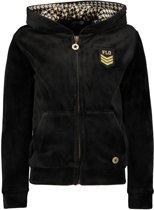 Like Flo Meisjes truien & vesten Like Flo Flo girls hooded velvet cardigan zwart 116