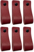 Leren handgrepen - Bordeaux Rood - 6 stuks - 16,5 x 2,5 cm | incl. 3 kleuren schroeven per leren handgreep