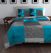 Sleeptime Text Rose Dekbedovertrek - Eenpersoons - 140 x 220 cm - Blauw