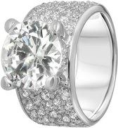 Lucardi - Zilveren ring breed met zirkonia
