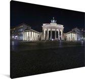 Brandenburger Tor tijdens de nacht in Duitsland Canvas 180x120 cm - Foto print op Canvas schilderij (Wanddecoratie woonkamer / slaapkamer) XXL / Groot formaat!