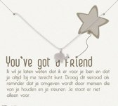 Simply Because You've got a friend! Ketting (zilver, bedel olifantje) 42 cm