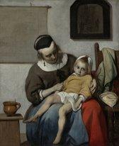 Gabriël Metsu - Het zieke kind - 105x130cm Textielframe