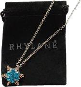 Ketting met sneeuwvlok hanger - 45 cm + 5 cm verstelbaar - met blauwe strass stenen - Rhylane