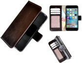 Luxe iPhone 6/6S Wallet Bookcase Echt Leer Hoesje - Donkerbruin