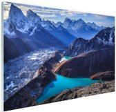 Himalaya landschap met water Glas 90x60 cm - Foto print op Glas (Plexiglas wanddecoratie)