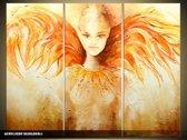 Acryl Schilderij Modern | Geel, Oranje | 120x80cm 3Luik Handgeschilderd