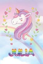 Julia: Julia Unicorn Notebook Rainbow Journal 6x9 Personalized Customized Gift For Someones Surname Or First Name is Julia