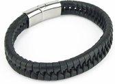 Heren Armband - Zwart - Leer - Gevlochten  - Zilverkleurige Sluiting - 21 cm