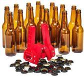 Brew Monkey Bottelset met 15 flessen, kroonkurkapparaat en 50 kroonkurken - Zelf bier bottelen - Bierflesjes