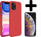 iPhone 11 Pro Hoesje Siliconen Case Cover Rood + Screenprotector Glas