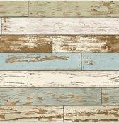 Reclaimed Scrap Wood beige/groen/bl. behang (vliesbehang, beige)