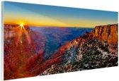 Grand Canyon National Park zonsondergang Glas 120x80 cm - Foto print op Glas (Plexiglas wanddecoratie)