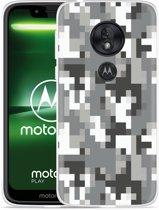 Moto G7 Play Hoesje Pixel Camouflage Grey