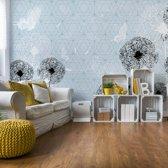 Fotobehang Modern Dandelions And Butterflies Design Light Lue | VEXXL - 312cm x 219cm | 130gr/m2 Vlies