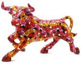 Barcino Design stier rood met oranje 32 cm