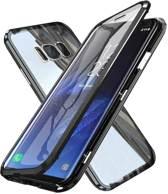 Magnetische case met voor - achterkant gehard glas voor de Samsung Galaxy S8 - zwart