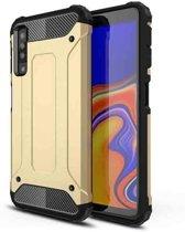 Teleplus Samsung Galaxy A30s Case Dual Layer Tank Cover Gold + Nano Screen Protector hoesje
