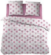 Snoozing Merel - Dekbedovertrek - Eenpersoons - 140x200/220 cm +  1 kussensloop 65x65 cm - Pink