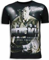 Local Fanatic Rocky Heavyweight - Digital Rhinestone T-shirt - Zwart - Maten: L