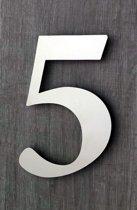 Huisnummers RVS. Hoogte 15 cm. Geborsteld RVS. Huisnummer 5. 5 jaar garantie.