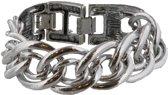 Zware zilverkleurige schakelarmband 22 cm. De armband is kleiner te maken door een deel van het slot eraf te klikken.