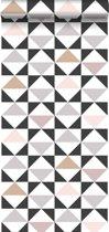 ESTAhome behang grafische driehoeken wit, zwart, warm grijs en oudroze