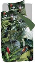 Snoozing Tropical Birds - Flanel - Dekbedovertrek - Eenpersoons - 140x200/220 cm + 1 kussensloop 60x70 cm - Groen