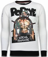 Local Fanatic Popeye - Rhinestone Sweater - Wit - Maten: M