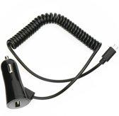 Smartphone auto oplader + extra usb poort met Type C usb spiraal kabel 3A