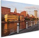 Het stadsgezicht van het Amerikaanse Cleveland tijdens een zonsondergang Plexiglas 90x60 cm - Foto print op Glas (Plexiglas wanddecoratie)