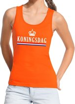 Oranje Koningsdag vlag tanktop / mouwloos shirt  voor dames - Koningsdag kleding S