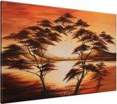 Schilderij handgeschilderd Boom | Bruin , Oranje | 120x70cm 1Luik