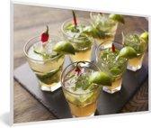 Foto in lijst - Heerlijke Wodka op een dienblad fotolijst wit 60x40 cm - Poster in lijst (Wanddecoratie woonkamer / slaapkamer)